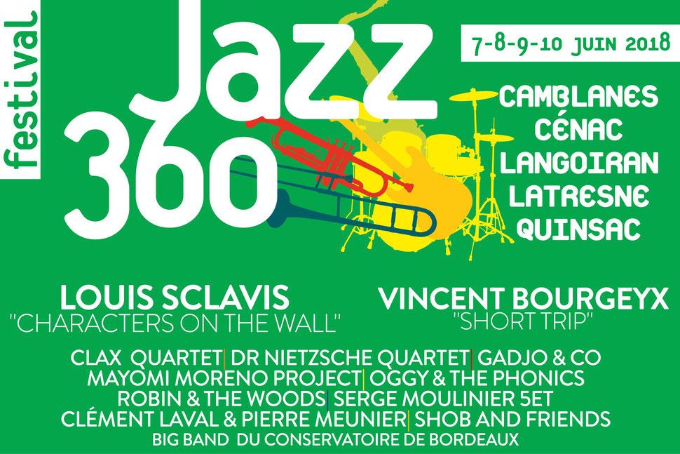 Neuvième édition du Festival JAZZ360 2018. Bandeau avec les communes et les groupes musicaux. Création graphique : Ulysse Badorc