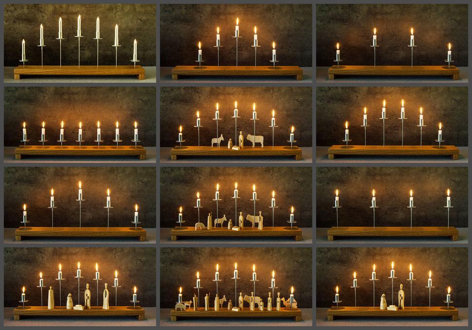 Brett´l, moderner Lichterbogen, moderner Schwibbogen, wandelbarer Lichterbogen, Lichterbogen mit Krippenfiguren , moderne Pyramide,