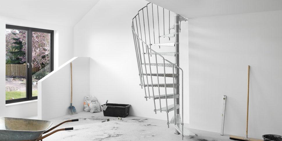 Bucher Treppen - moderne Treppenherstellung mit Präzision - Baustellentreppe aus Metall.