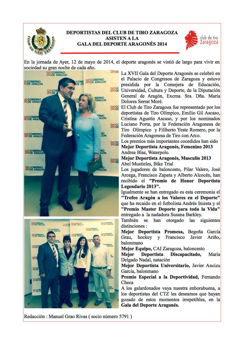 GALA DEPORTE ARAGONES 2014