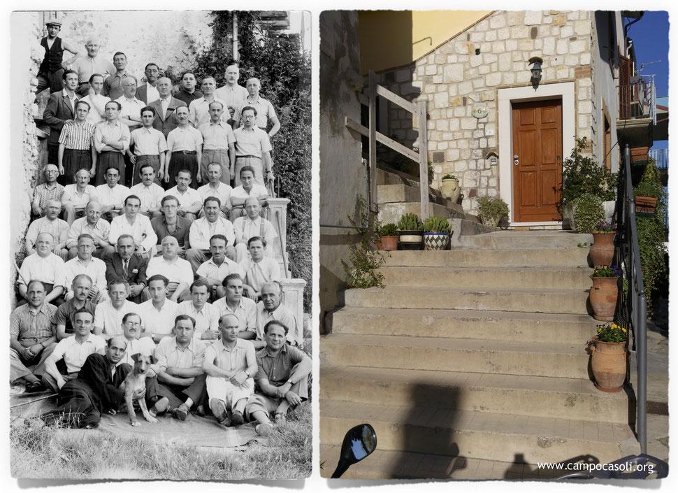 La scalinata dove fu scattata la foto di gruppo degli ebrei stranieri internati al Campo di Concentramento di Casoli, ieri e oggi.