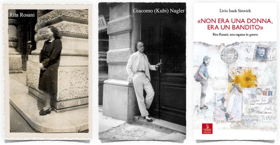 Nella foto al centro, il fidanzato di Rita è ritratto nel 1938 sul portone di casa sua, in Via Pascoli 4 a Trieste.