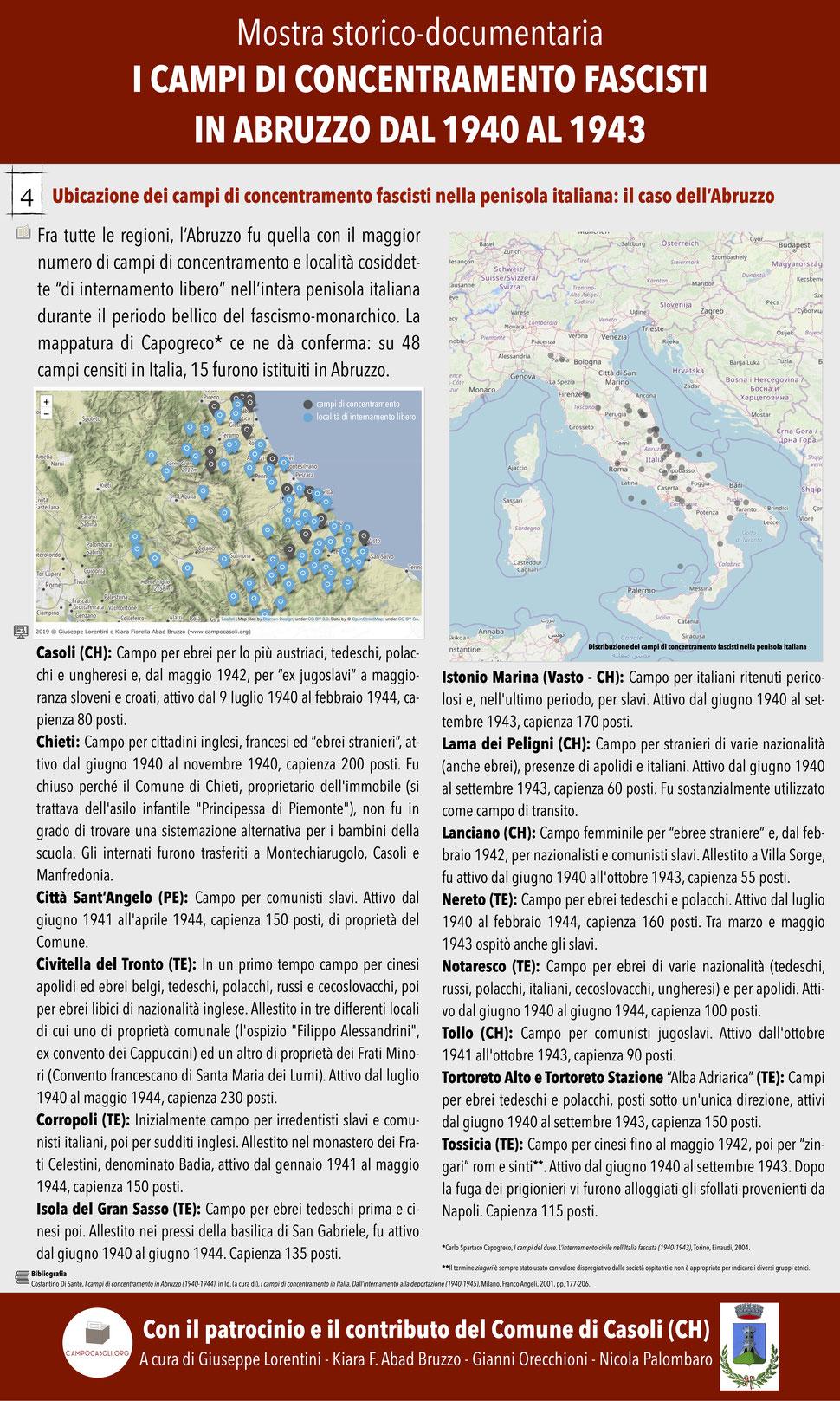 4. Ubicazione dei campi di concentramento fascisti nella penisola italiana: il caso dell'Abruzzo