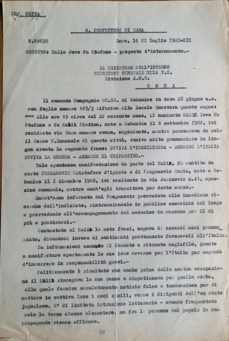 Provvedimento di internamento per Kalik Jovo fu Stefano, foglio 1,  (Busta 3, Fasc. 95)