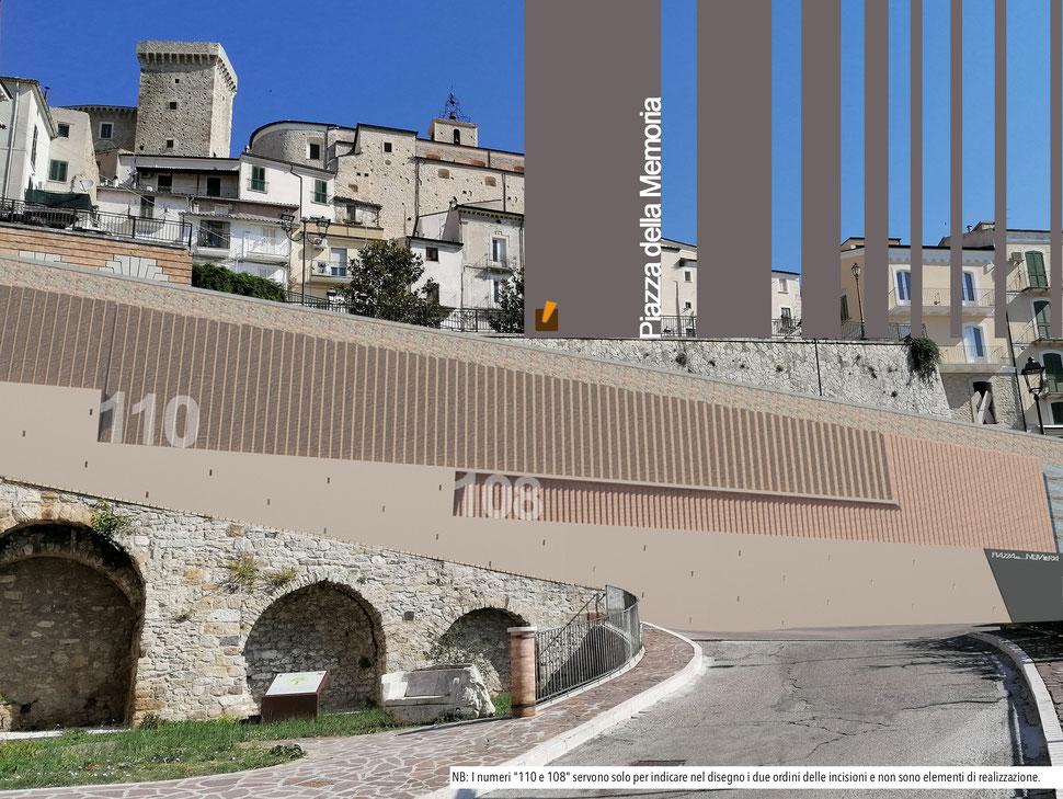 """Immagine di rendering del progetto architettonico. NB: I numeri """"110 e 108"""" servono solo per indicare nel disegno i due ordini delle incisioni e non sono elementi di realizzazione."""