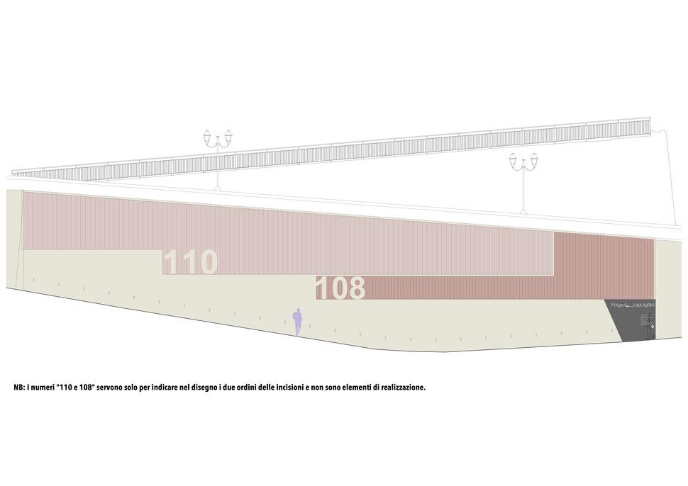 """Dettaglio delle """"218 incisioni"""" sul muro. NB: I numeri """"110 e 108"""" servono solo per indicare nel disegno i due ordini delle incisioni e non sono elementi di realizzazione."""