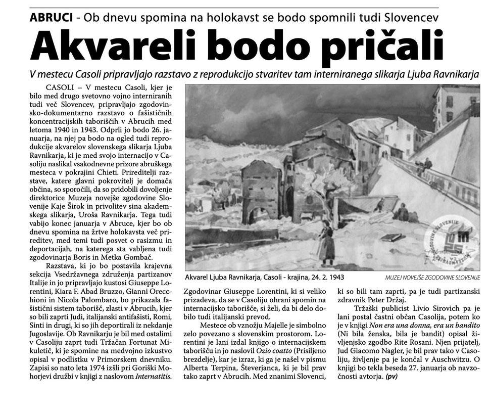 Articolo apparso sul Primorski Dnevnik del 2 gennaio.