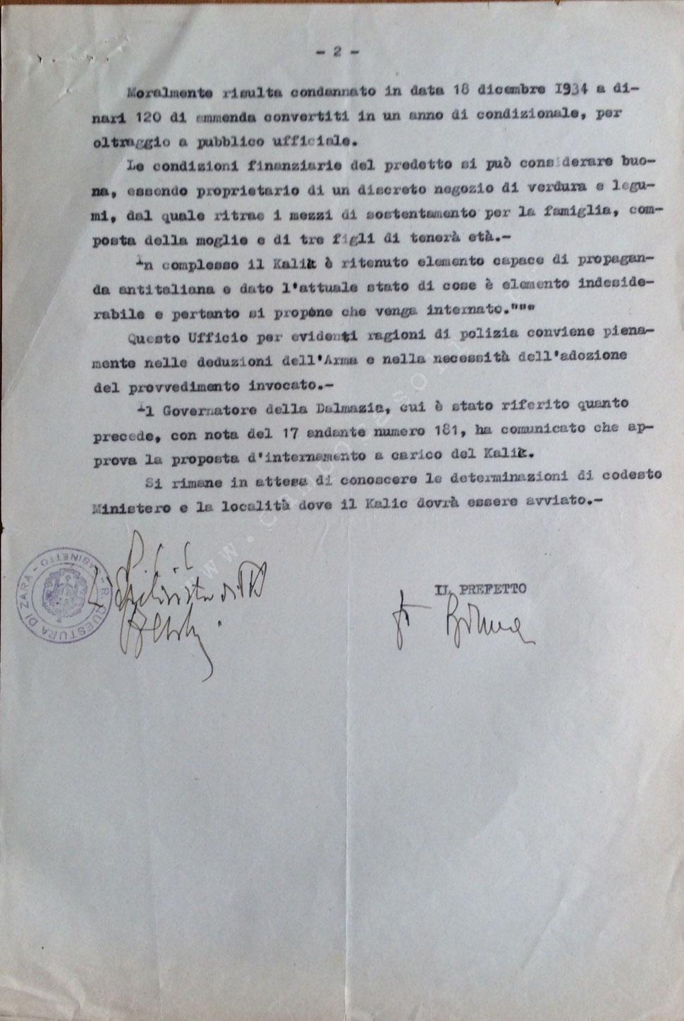 Provvedimento di internamento per Kalik Jovo fu Stefano, foglio 2,  (Busta 3, Fasc. 95)