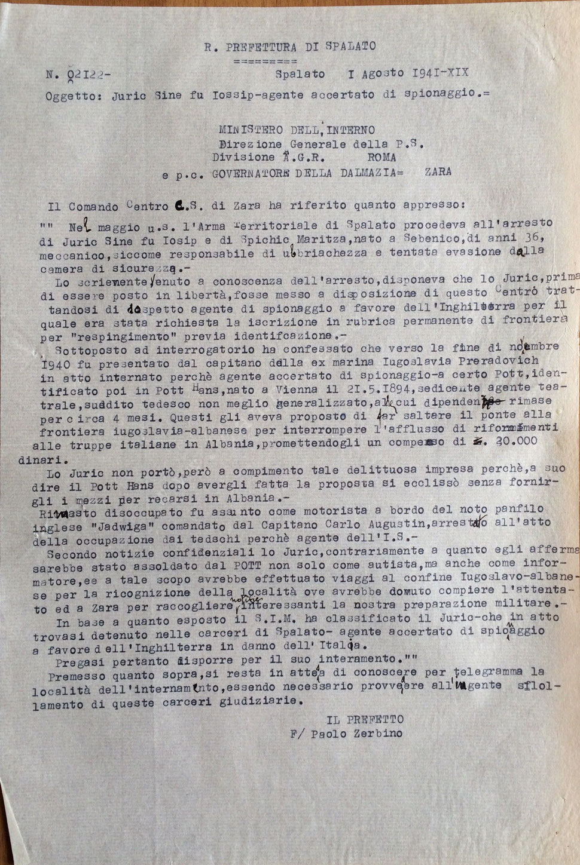 Provvedimento di internamento per Juric Sine fu Josip, (Busta 3, Fasc. 94)