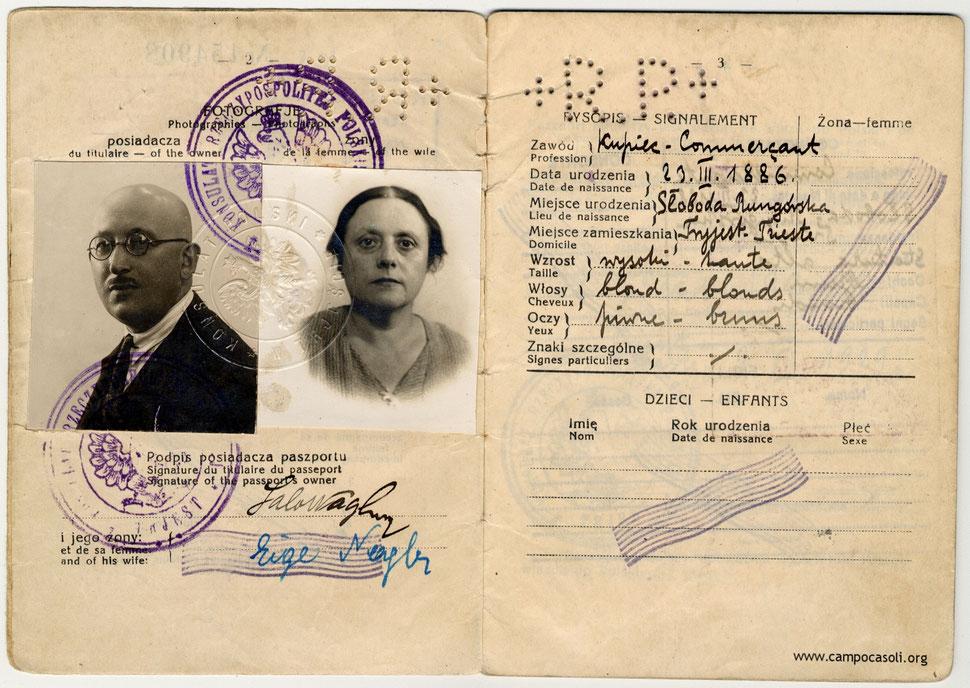 Passaporto di Salo Nagler e sua moglie Fitzer Feige Adele, Cfr. Livio Sirovich, «Non era una donna, era un bandito». Rita Rosani, una ragazza in Guerra, Cierre Edizioni, Verona, 2014.