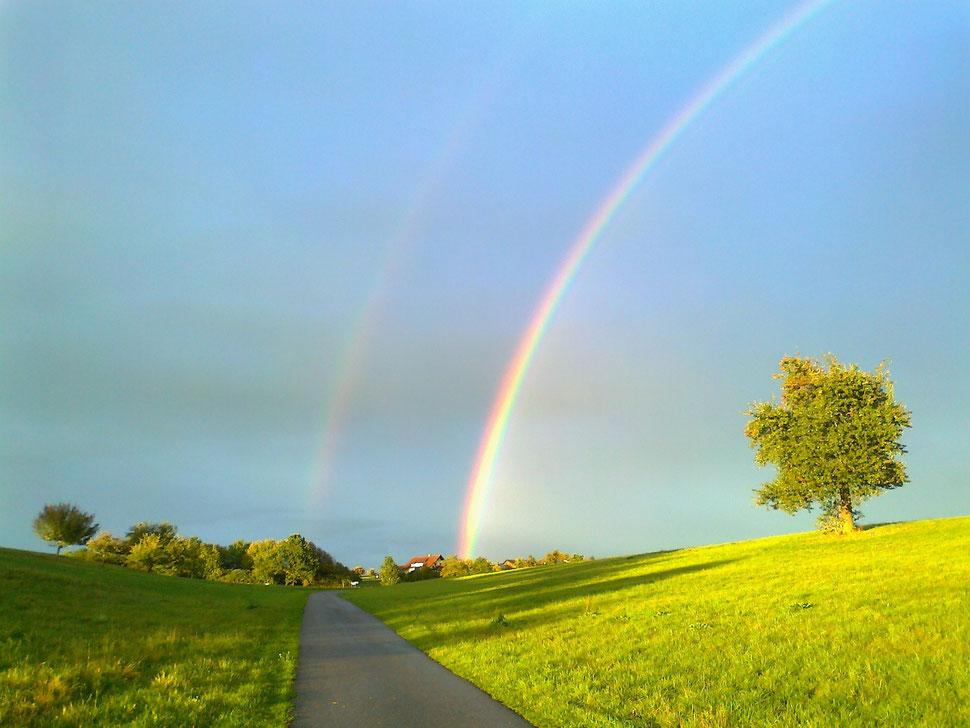 Dieser Regenbogen war am Tag nach B-Catalinas Gebarst-und Todestag über Wäschenbeuren zu sehen...