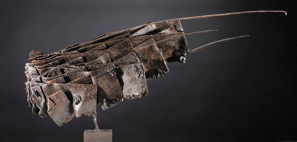 Pièce originale acier soudé patiné 2008 - 50 x 120 x 30 - Tirages bronze I à VIII - Fonderie Le Floch à Blain