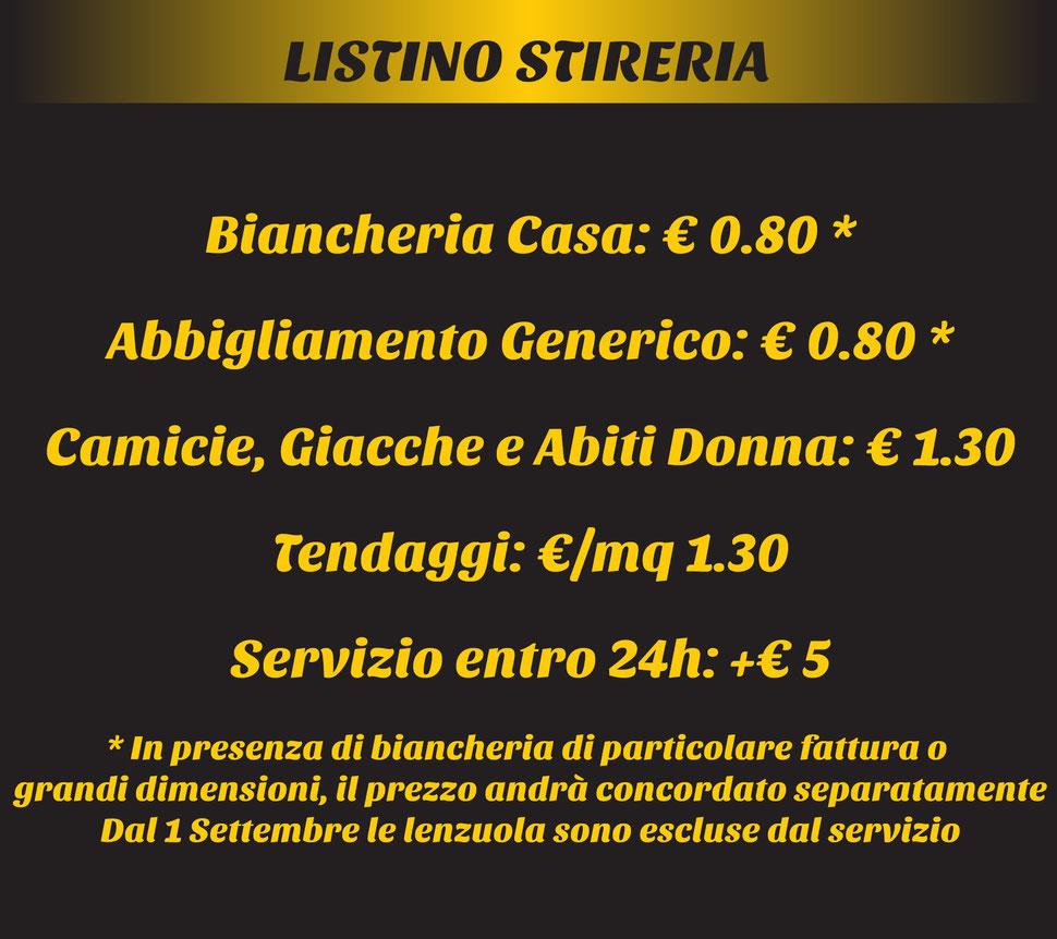 Listino prezzi stireria WOOZ Brescia