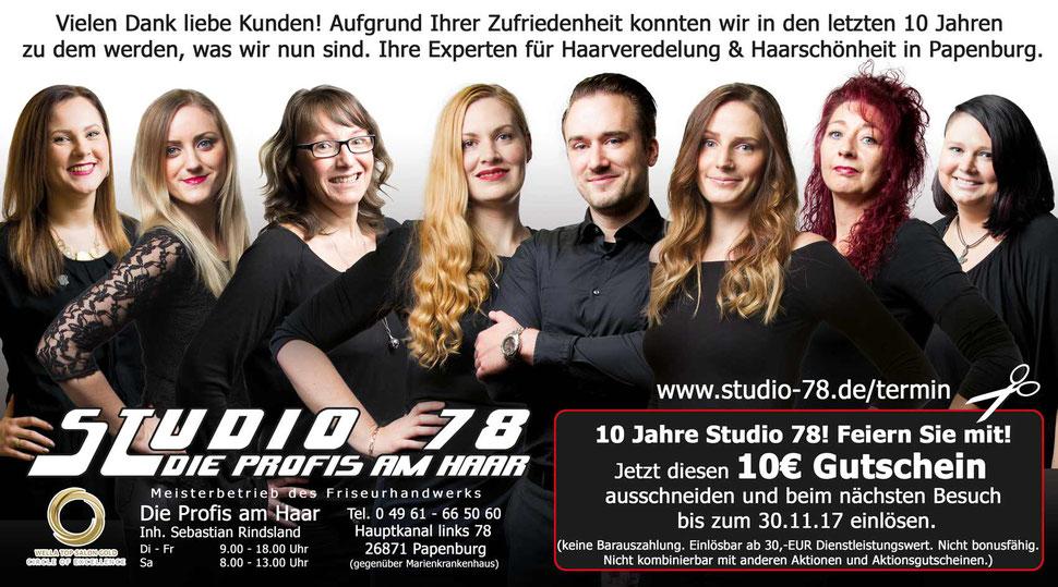 Gutschein 10,-€ - 10 Jahre Studio 78 Jubiläum