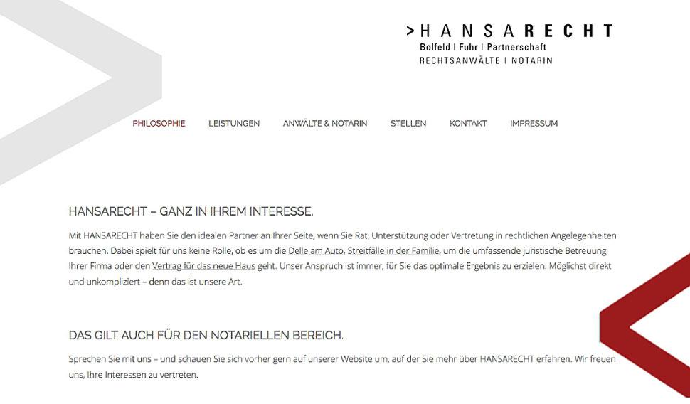 hansaconcept. Kanzlei-Homepage aus Lübeck - responsive Webdesign und Suchmaschinenoptimierung (SEO) für Rechtsanwälte, Notare, Steuerberater, für die Kanzlei, für die Anwaltskanzlei, für professionelles Kanzleimarketing überall in Köln, Hamburg, Frankfurt