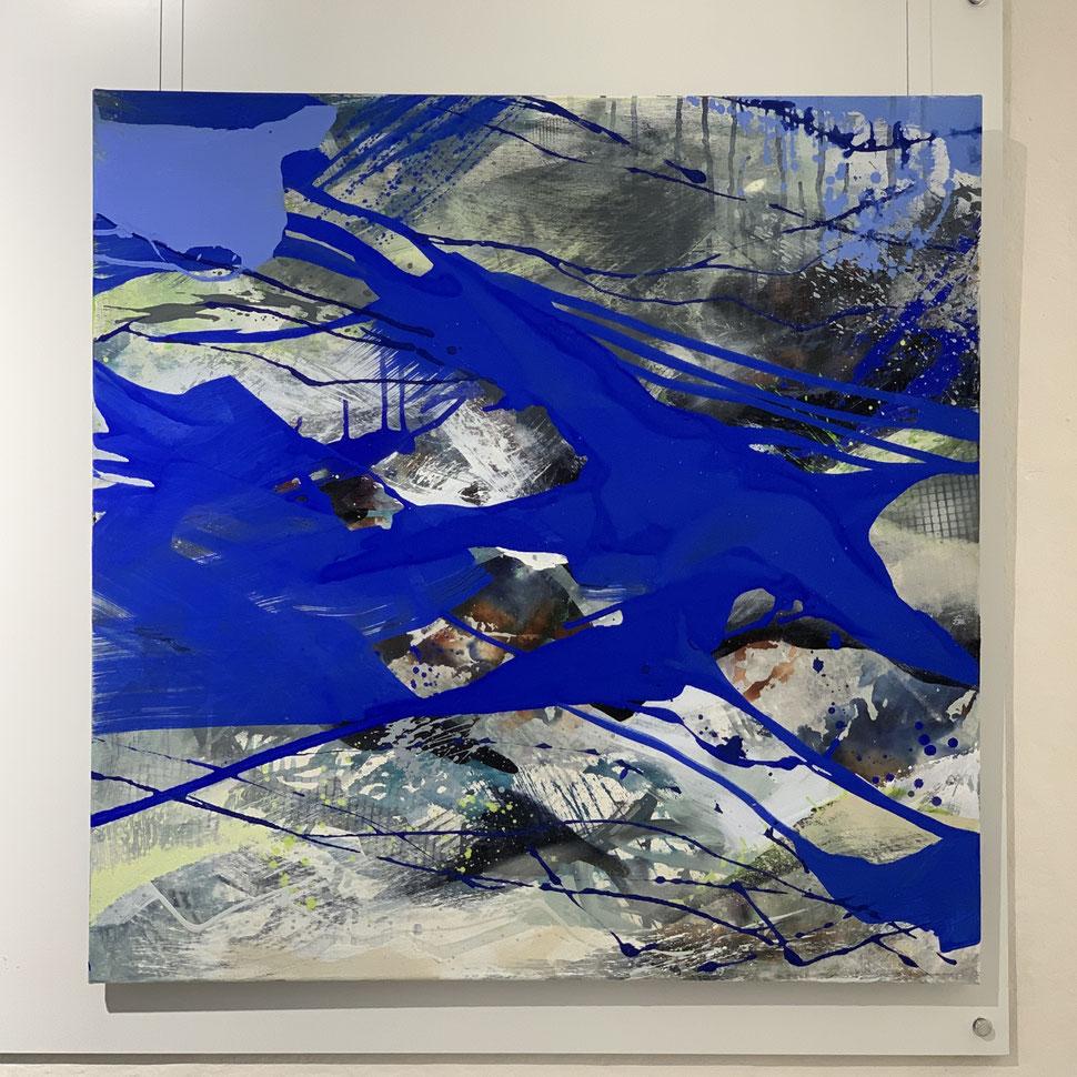 Regina Wuschek, ohne Titel, 80 x 80, Mixed Media und Pigment auf Leinwand