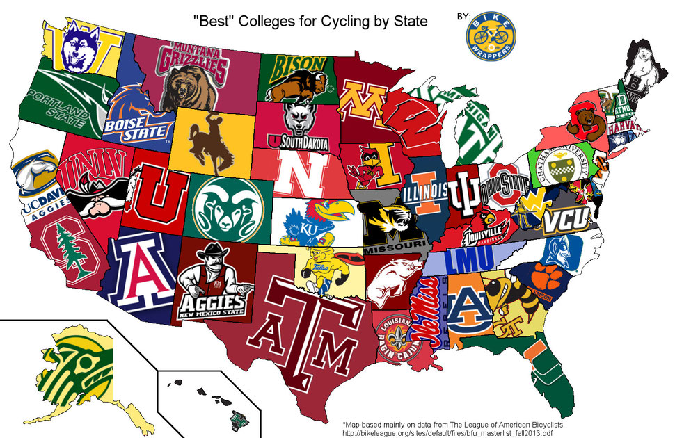 Fun visual map of best colleges of bicyclists by state.