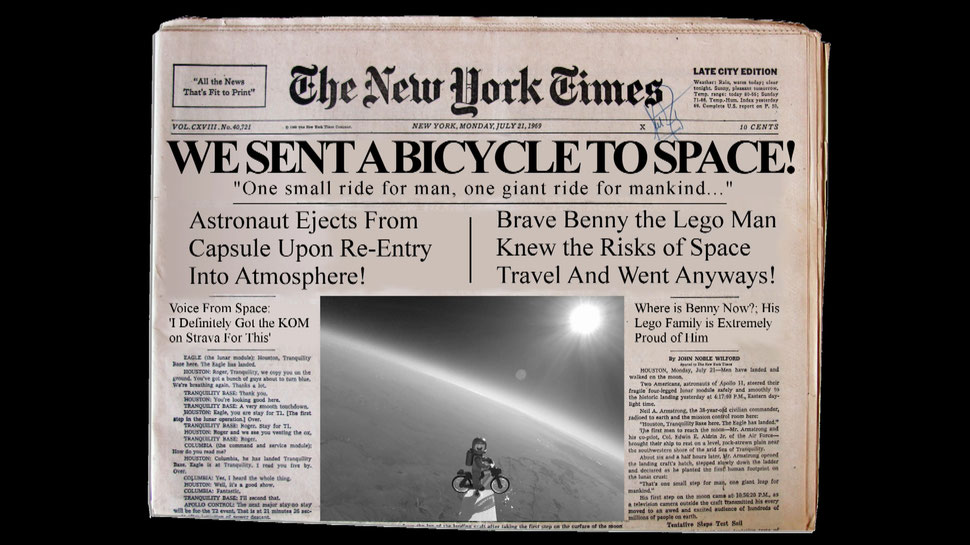 The world's first bicycle in space.