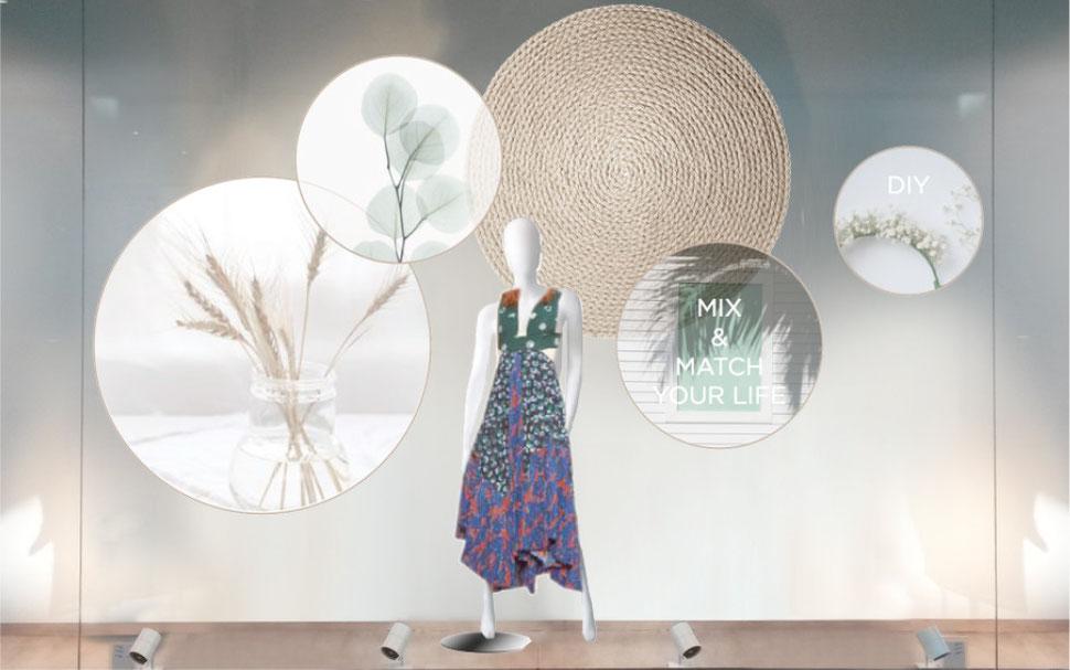 conception creation, set design decor scénographie, retail, vitrine mode, pap, nature, ecolo, slow life, diy