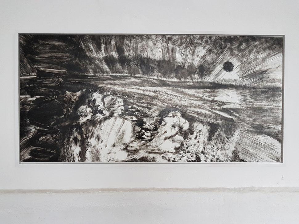 Auen - 100x45cm Lack auf Hochglanz Pinselzeichnung, 2017