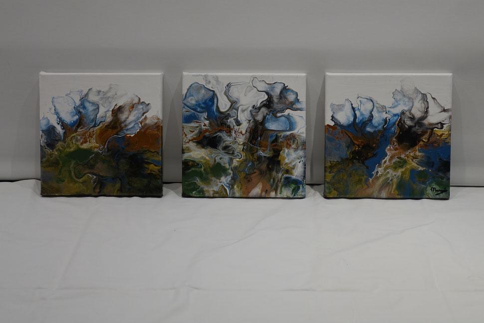 Acryl pouring, abstact schilderij,  3 luik , Onstuimig