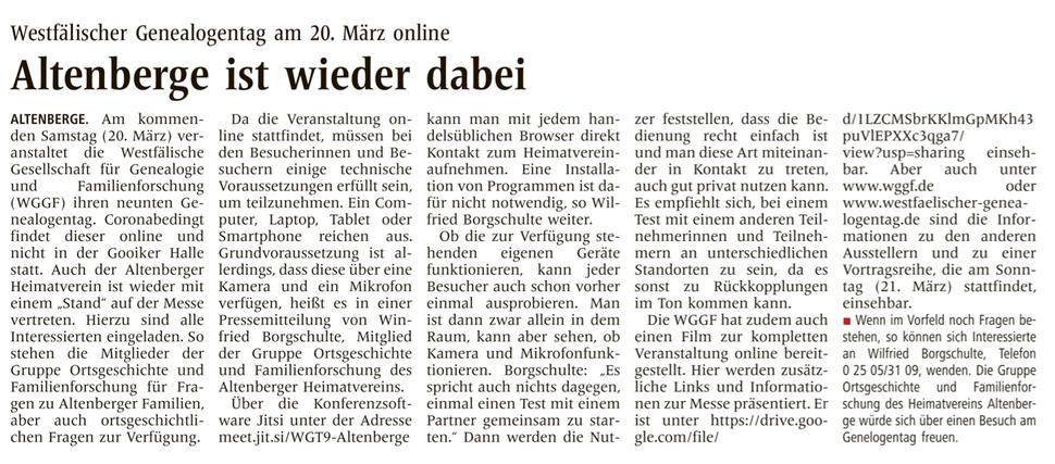 WN Artikel zum Westfälischen Genealogentag von Wilfried Borgschulte