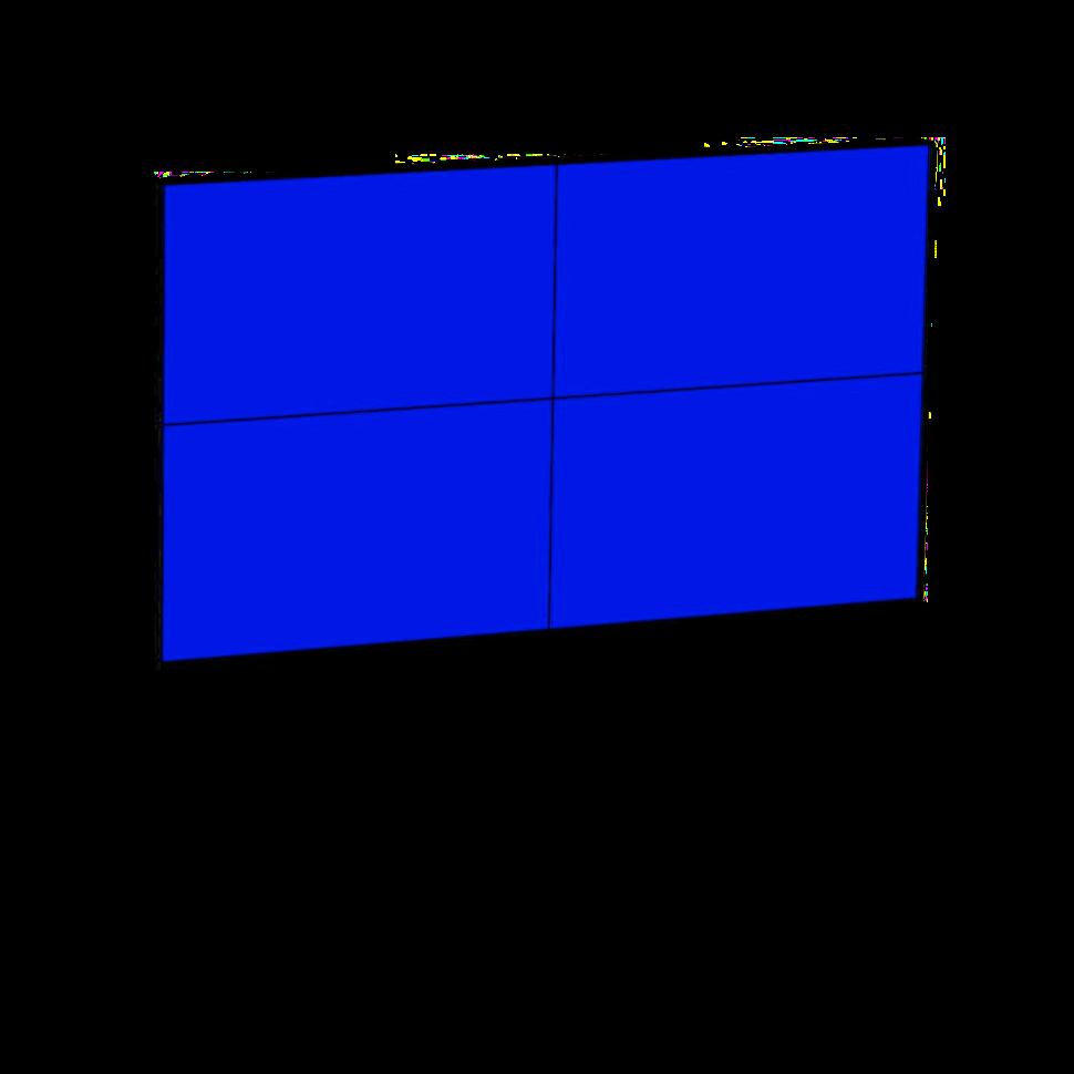 "Monitorwand AVENTURIN mit 4 Stück 49"" Zoll Monitore"