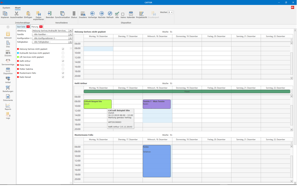 CATTOR Planning Screen with FSE Calendar and unplanned Orders