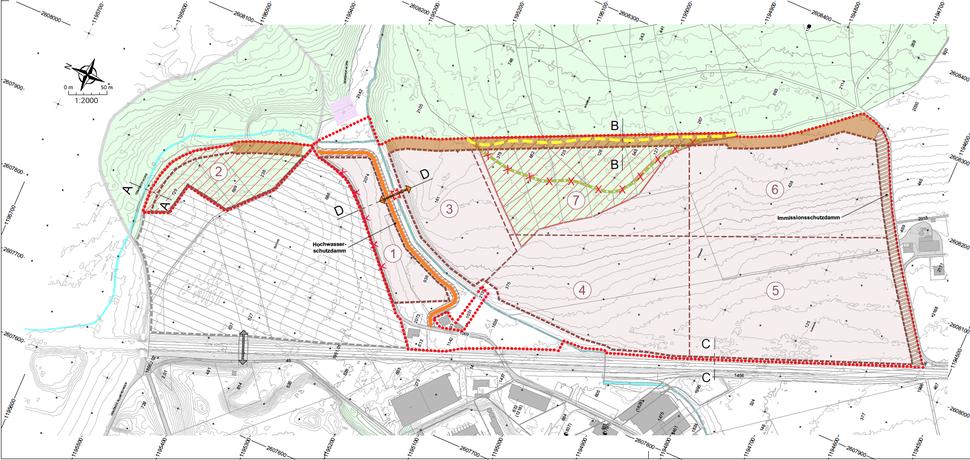 Der Wanderweg wird ab ca. 2035 entlang der Etappe 7 gemäss UeO-Perimeter während voraussichtlich 4 - 6 Jahren umgeleitet  (gelb eingezeichnet).