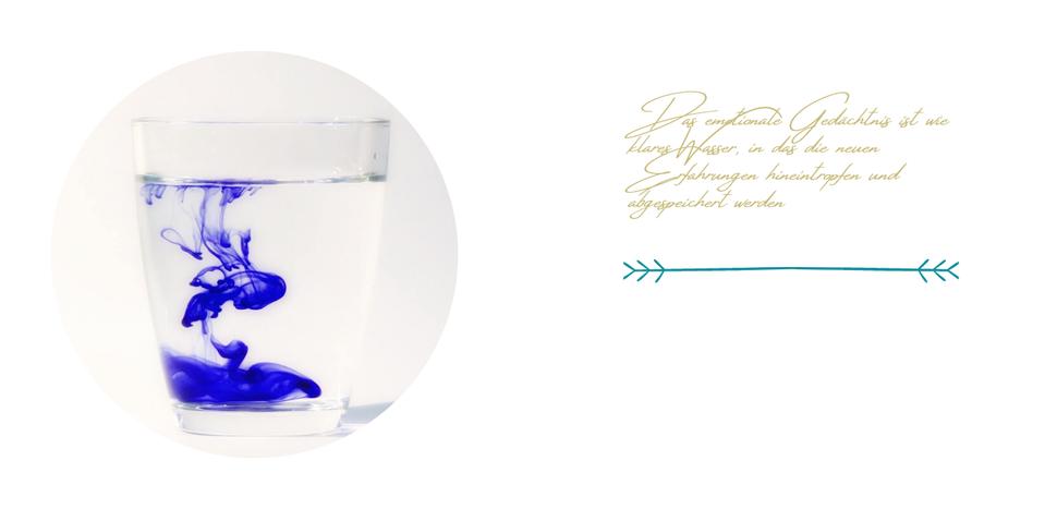 Das emotionale Gedächtnis funktioniert wie ein Glas Wasser, in das Tinte hineintropft, die sich dort abspeichert.