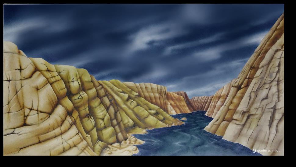 Zeichnung eines Canyons, von Gunter Schmidt