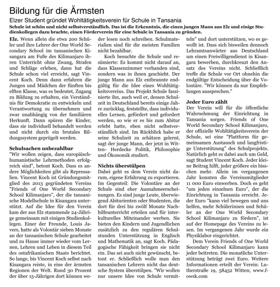 Die Frankfurter Neue Presse und Nassauische Neue Presse berichten über das Engagement der Friends of OWSK für die euro-afrikanische Modellschule in Tansania. Im Mittelpunkt stand Schatzmeister Vincent Koch, der 2013 den Verein mitgegründet hat.