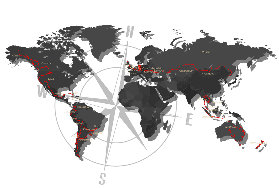 Zurückgelegte Strecke auf unserer Motorrad-Weltreise