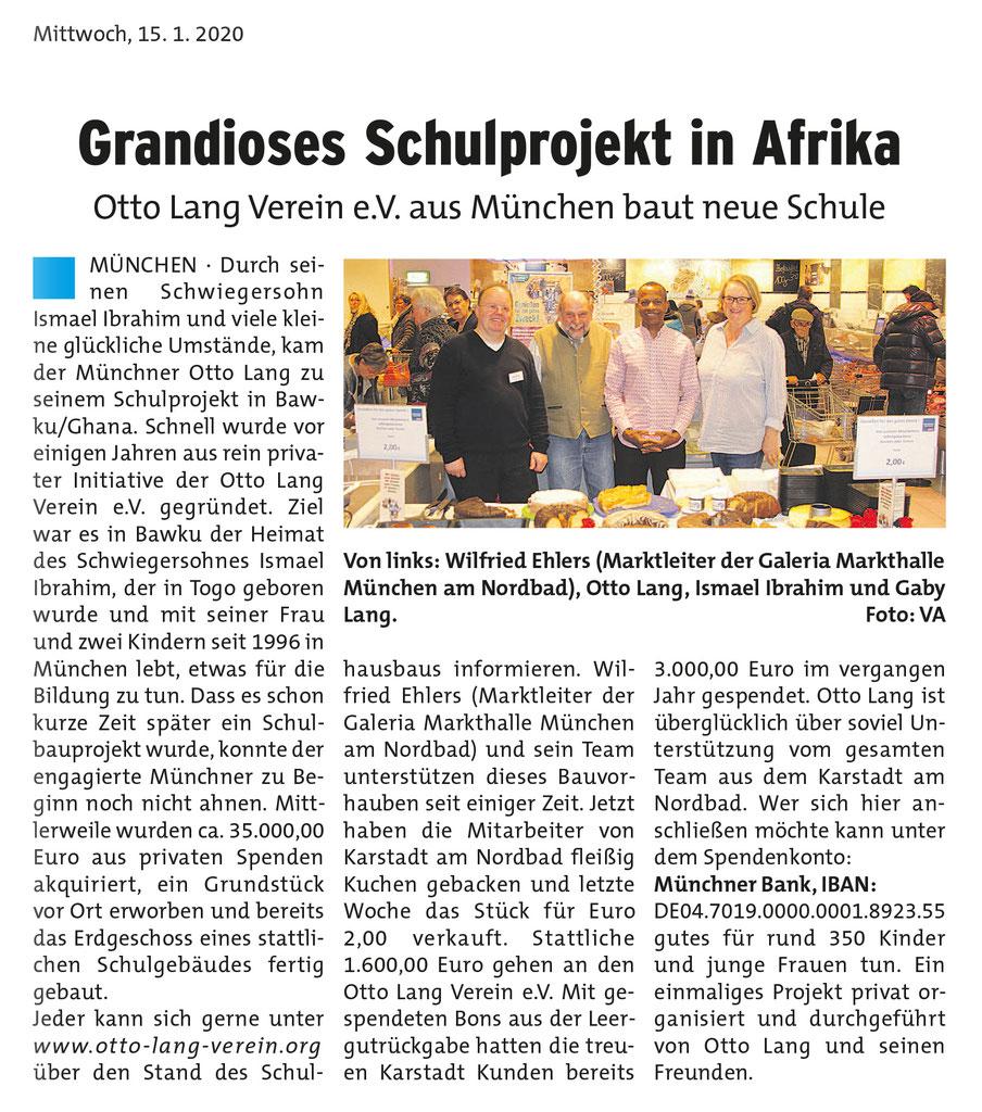 Aus dem Münchner Wochenblatt, Schwabinger Seiten vom 15.01.2020