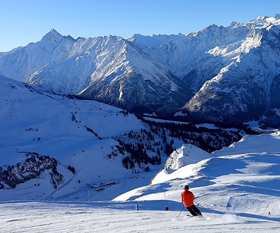 The photograph shows an image of a skier set against the backdrop of a range of mountains. The location is Hochsträss, Haslberg,