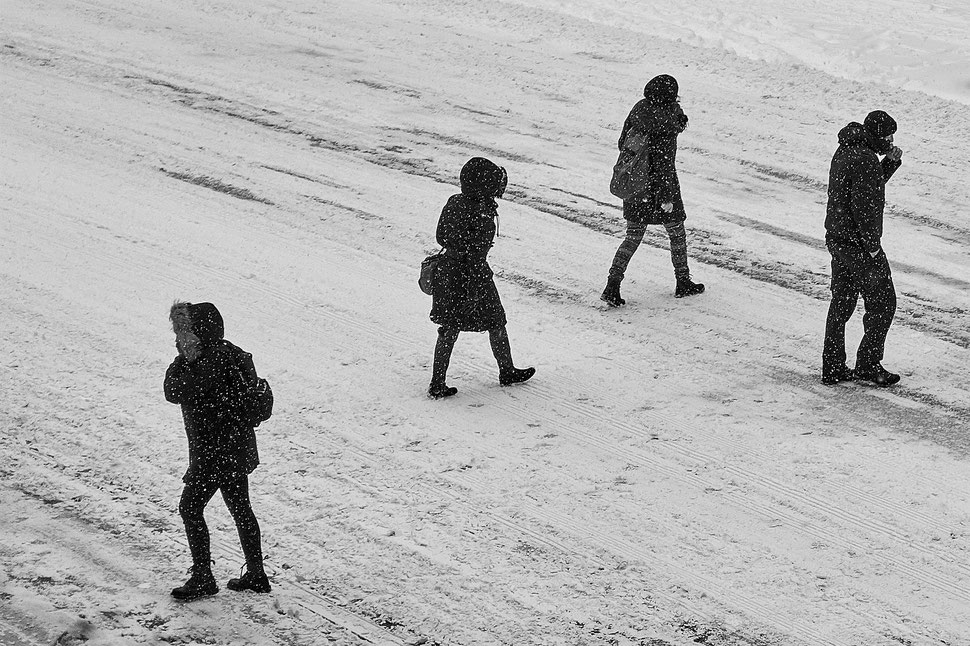 The image shows the photograph of five people crossing a road in a snowstorm.