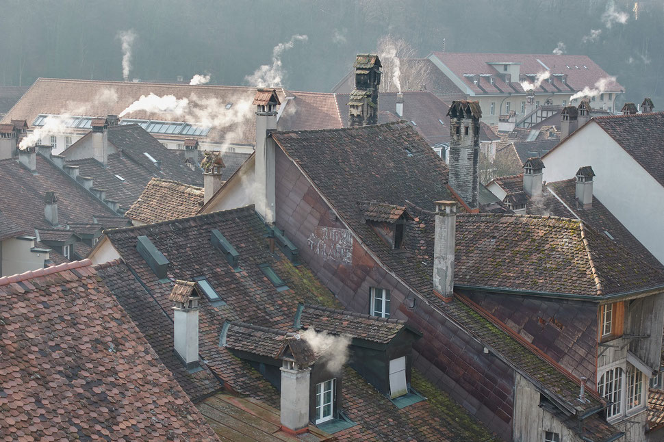 The image shows the photograph of some roofs and chimneys in the old town of Bern.