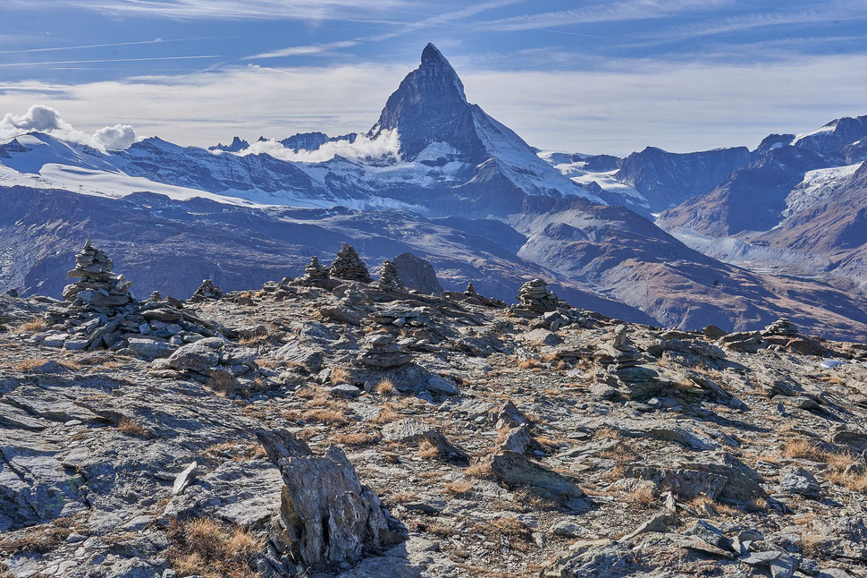 The image shows a photograph of the Matterhorn on a beautiful day.