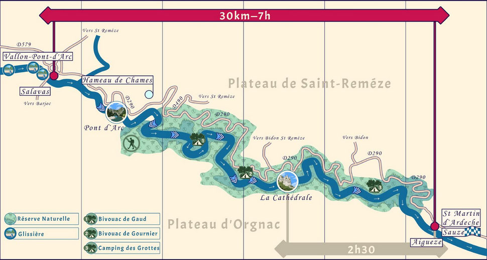 Descente de l'Ardèche, entre Vallon Pont d'Arc et Sauze, avec traversée de la Réserve Naturelle des Gorges de l'Ardèche et passage sous le Pont d'Arc.
