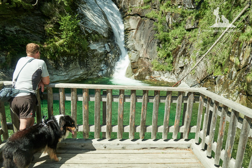 Wandern mit Hund im Maltatal; Kärnten, Österreich, Gössfälle