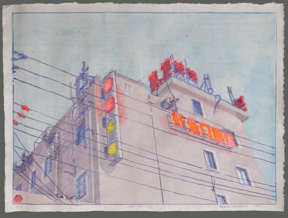 clear blue sky- shanghai : japanese style woodblock print