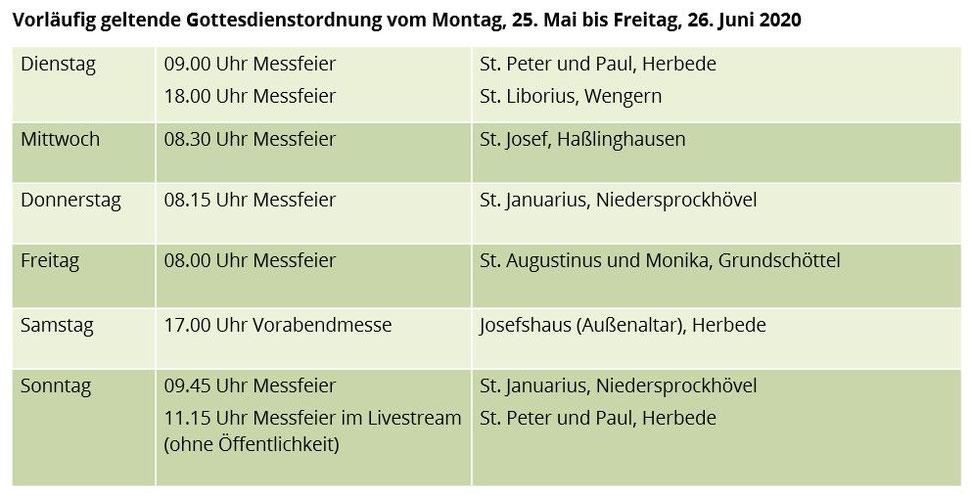 Gottesdienstzeiten und -orte in der Zeit vom 25.05. bis zum 26.06.2020 in unserer Pfarrei