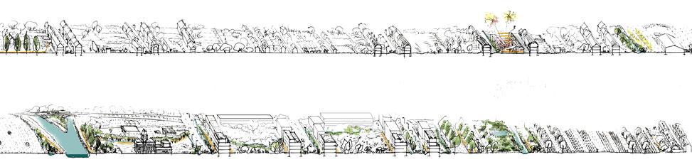 // Coupe paysage Armentières, l'espace public par la présence de l'eau.