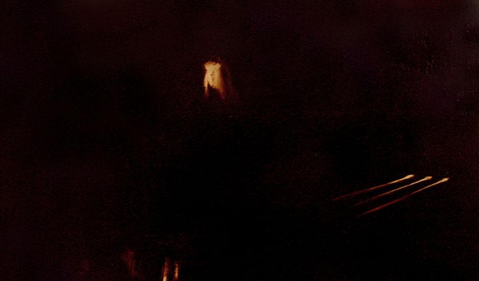"""Tre luci"" (2009) olio su legno, cm (46,7 x 28)"