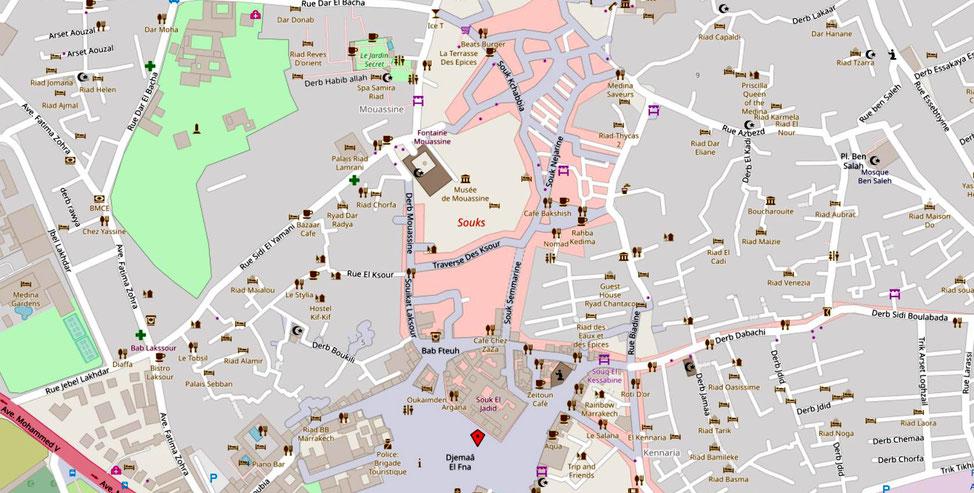 Kärtchen nördliche Medina, bezogen auf den Djemaa el Fna (Quelle: openstreetmap, Lizenz CC-BY-SA 2.0).