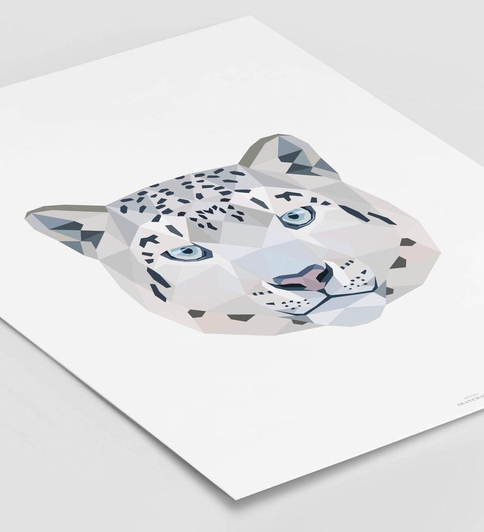 Poster Schneeleopard schwarz Geschenk