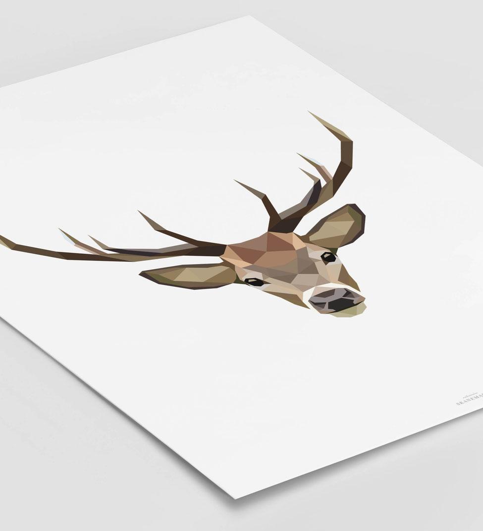 Poster Hirsch schwarz Geschenk