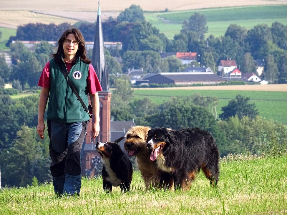 Wandern mit mehreren Hunden: Franziska Rößner und ihre Berner Sennenhunde.
