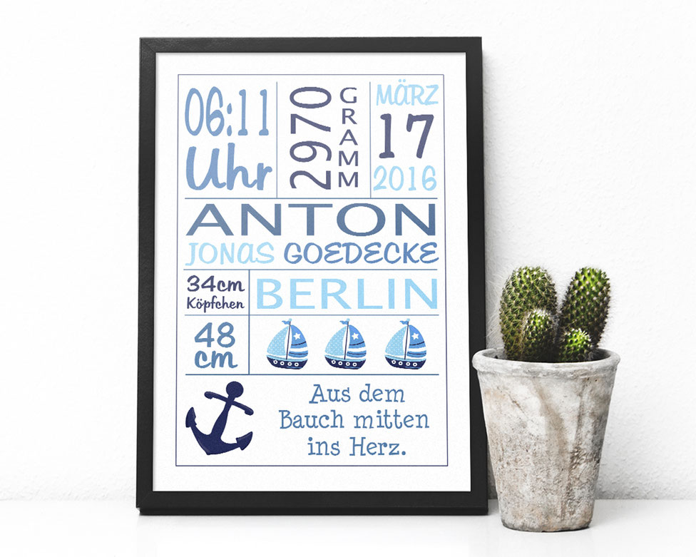 maritime Geburtsanzeige