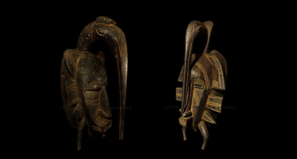 Senufo Kpelié mask with large Calao hornbil, unknown carver, both region of Korhogo